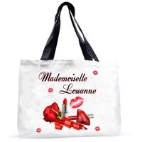 Grand sac cabas Mademoiselle Maquillage personnalisé avec prénom