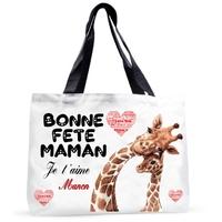 Grand sac cabas Bonne fête maman personnalisé avec prénom