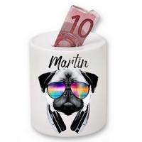 Tirelire céramique Carlin DJ personnalisée avec prénom