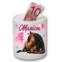 Tirelire céramique Cheval personnalisée avec prénom