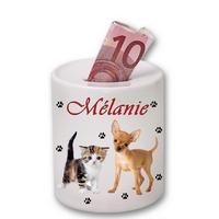 Tirelire céramique Chien et chat personnalisée avec prénom
