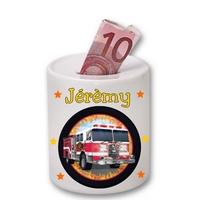 Tirelire céramique Camion de pompier personnalisée avec prénom