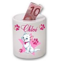 Tirelire céramique Chat de princesse personnalisée avec prénom au choix