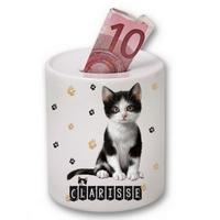 Tirelire céramique Chat Chaton cat personnalisée avec prénom au choix