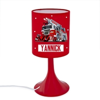 Lampe de chevet ou de bureau Camion de pompier personnalisée avec prénom