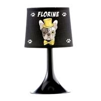Lampe de chevet ou de bureau Chien Bouledogue personnalisée avec prénom