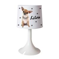 Lampe de chevet ou de bureau Chihuahua personnalisée avec prénom