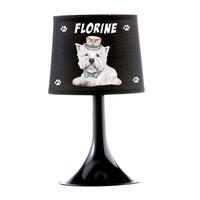 Lampe de chevet ou de bureau Chien Whestie personnalisée avec prénom