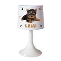 Lampe de chevet ou de bureau Chien Yorkshire personnalisée avec prénom