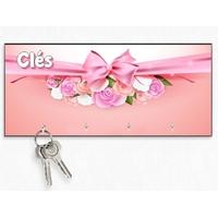 Accroche clés mural en bois Fleurs