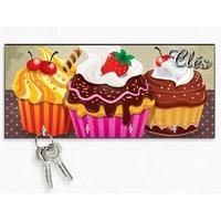 Accroche clés mural en bois Cupcake