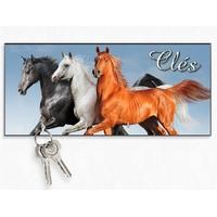 Accroche clés mural en bois Cheval chevaux