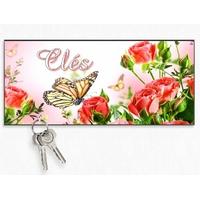 Accroche clés mural en bois Fleur et papillon