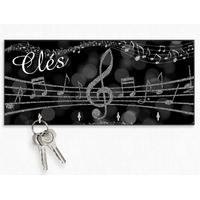 Accroche clés mural en bois Clé de sol Musique