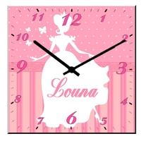 Pendule murale carré Princesse personnalisée avec prénom au choix