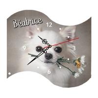 Pendule murale Chihuahua personnalisée avec prénom au choix