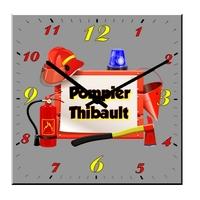 Pendule murale carré Pompier personnalisée avec prénom au choix