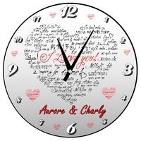Pendule murale Amour Je t'aime personnalisée avec prénoms au choix