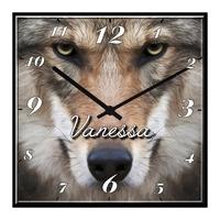 Pendule murale Loup personnalisée avec prénom
