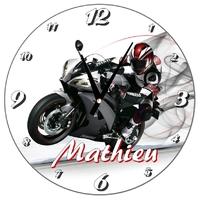 Pendule murale Moto personnalisée avec prénom