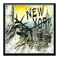 Pendule murale New York personnalisée avec prénom