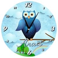 Pendule murale Chouette bleue Owl personnalisée avec prénom