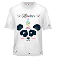 Tee shirt enfant Panda licorne personnalisé avec prénom