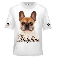 Tee shirt enfant Chien Bouledogue français personnalisé avec prénom