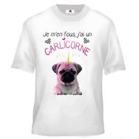 Tee shirt enfant humour Je m'en fous j'ai un carlicorne ( carlin + licorne )