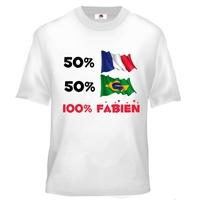 Tee shirt enfant Métisse personnalisé avec deux drapeaux et prénom au choix