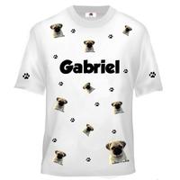 Tee shirt enfant Chien Carlin personnalisé avec prénom
