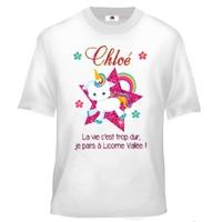 Tee shirt enfant Je pars a licorne vallée personnalisé avec prénom