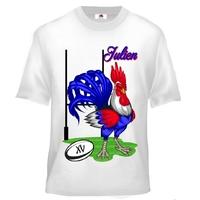 Tee shirt enfant Rugby FRANCE Coq personnalisé avec prénom
