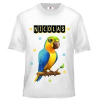 Tee shirt enfant Oiseau Perroquet personnalisé avec prénom