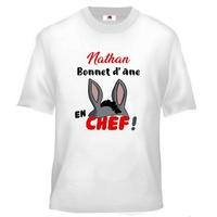 Tee shirt enfant humour Ecole Bonnet d'âne en chef personnalisé avec prénom