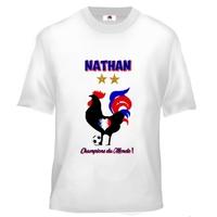 Tee shirt enfant Foot France Champions du monde personnalisé avec prénom