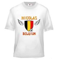 Tee shirt enfant Foot Belgique Football personnalisé avec prénom