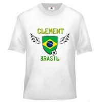 Tee shirt enfant Foot Brésil Football personnalisé avec prénom