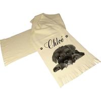Écharpe polaire écrue Chien chiot personnalisée avec prénom