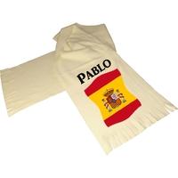 Écharpe polaire écrue Espagne personnalisée avec prénom