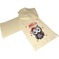 Écharpe polaire écrue Chouette owl personnalisée avec prénom