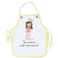 Tablier enfant Je cuisine avec marraine personnalisé avec prénom
