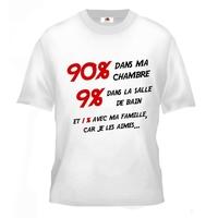 Tee shirt pour Ado humour 1% avec ma famille car je les aimes
