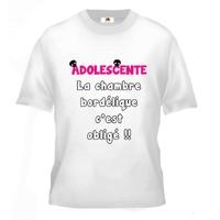 Tee shirt pour Adolescente Humour La chambre bordélique c'est obligé !!