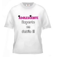 Tee shirt pour Adolescente Humour Experte en selfie !!