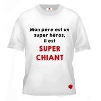 Tee shirt pour Ado Humour Mon père est un super héros