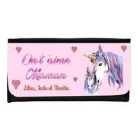 Portefeuille en simili cuir Licorne On t'aime maman personnalisé avec prénoms