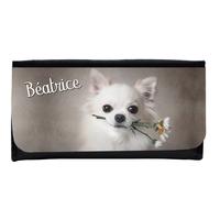 Portefeuille femme en simili cuir Chihuahua personnalisé avec prénom