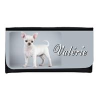 Portefeuille femme en simili cuir Chiot Chihuahua personnalisé avec prénom