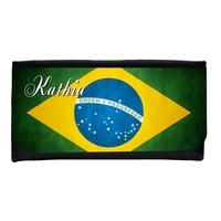 Portefeuille femme en simili cuir Brésil personnalisé avec prénom